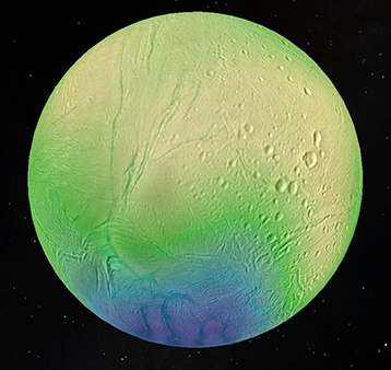 An ocean lies a few kilometers beneath Enceladus's icy surface
