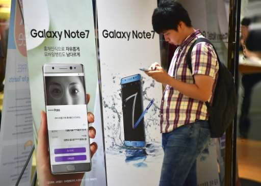 A passenger's Galaxy Note 7—described as a replacement in Samsung's global recall of the device—apparently caught fire on a Sout