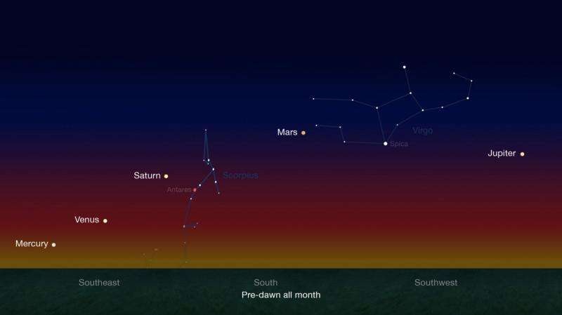 A planetary quintet is dancing across the skies