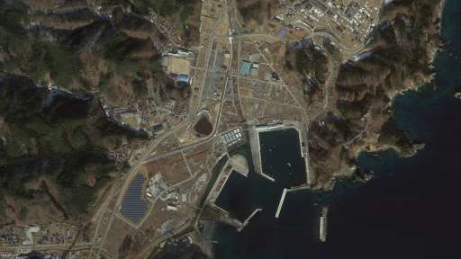 """A satellite image from Google's """"East Japan Earthquake digital archive project"""" shows the Japanese city of Miyako, in"""