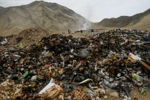 A scavenger is pictured at an illegal garbage dump in Lima on January 9, 2016