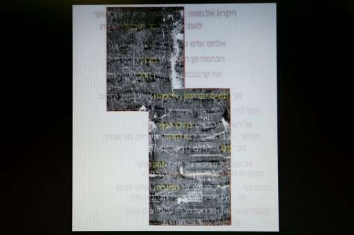 A screen shot shows the deciphered and original text of what is believed to be a 1,500 year old copy of the beginning of the boo
