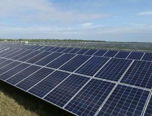 A solar farm under construction in Punta Gorda, Florida, where enough energy will be produced to power 21,000 homes
