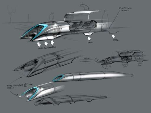 A Tesla Motors concept drawing of the Hyperloop, a fast transport design by Elon Musk
