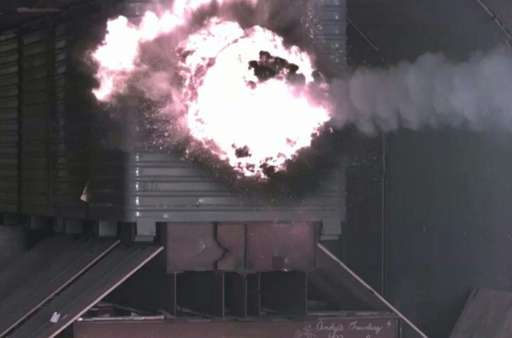 A test round from the US Navy's Electromagnetic Railgun hits a target with scientists ultimately expecting railgun rounds to tra