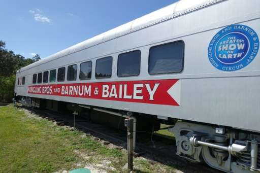 A train car that used to transport elephants from city to city for the circus is parked March 8, 2016 at the Ringling Bros. Cent