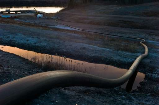 A water intake pipe for oil sands operations on April 28, 2015 in Fort McMurray, Canada