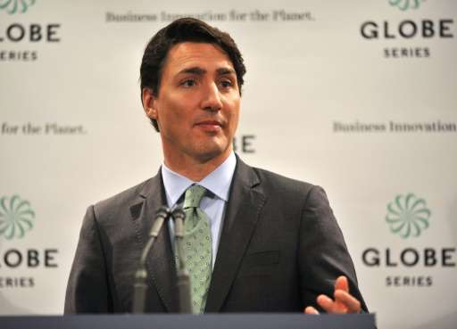 Canadian Prime Minister, Justin Trudeau talks to media at a press conference at the GLOBE 16 Conference in Vancouver, on March 2