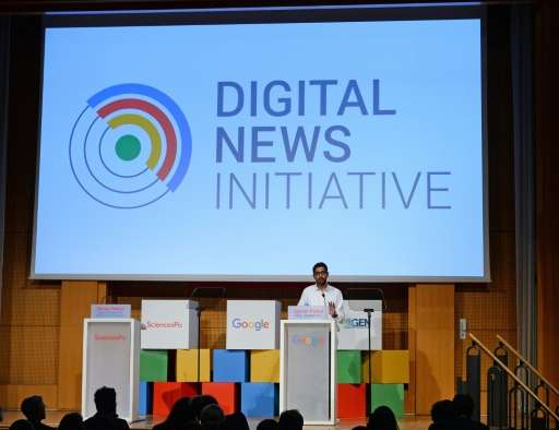CEO of Google Inc Sundar Pichai addresses a meeting at SciencesPo university in Paris on February 24, 2016 and says Google &quot
