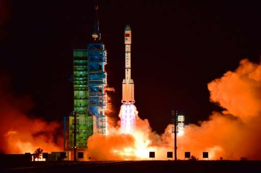 China's Tiangong 2 space lab is launched on a Long March-2F rocket from the Jiuquan Satellite Launch Center in the Gobi desert,