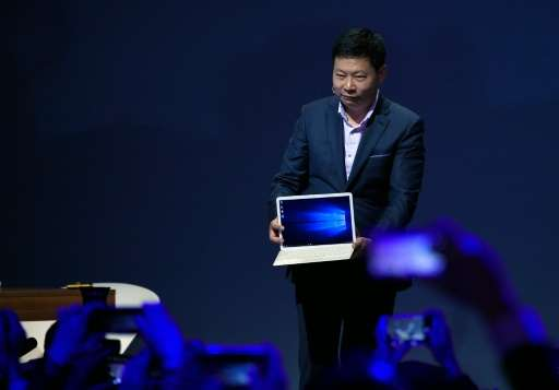 Chinese company Huawei's CEO Richard Yu presents the new product Matebook at the Mobile World Congress in Barcelona on February