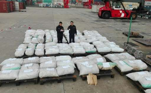 Customs officers stand guard over seized pangolin scales at a port in Shanghai