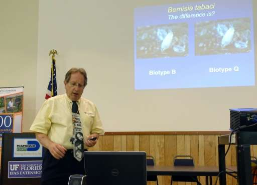 Dr. Lance Osborne, an entomologist with the University of Florida, gives a presentation on July 22, 2016 in Homestead, Florida t