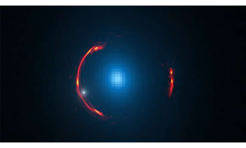 Dwarf dark galaxy hidden in ALMA gravitational lens image