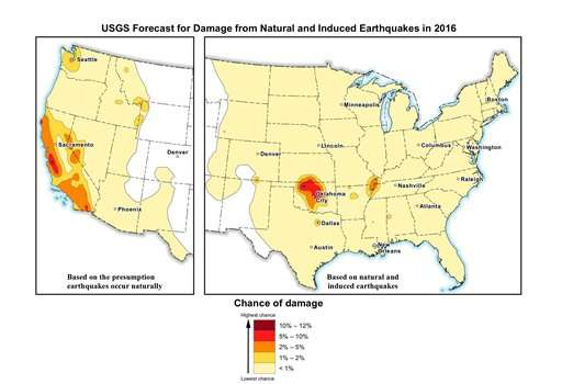 Feds: Risk of 2016 quake increases, especially in Oklahoma