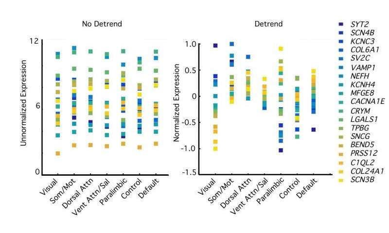 Fig. 4. Relative differences in transcriptional profiles across networks are revealed by detrending expression values