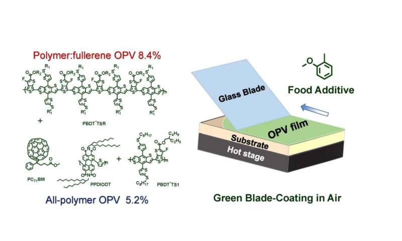 Food additive key to environmentally friendly, efficient, plastic solar cells