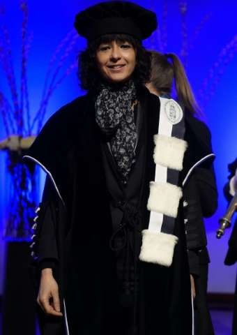 French microbiologist Emmanuelle Charpentier attends a ceremony for the Doctors Honoris Causa honorary degrees, at the KU Leuven