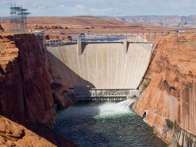 Glen Canyon Dam on the Colorado River at the Arizona-Utah Border
