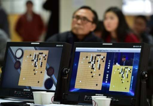 Go game fans watch a TV screen broadcasting live footage of the Google DeepMind Challenge Match, at the Korea Baduk Association