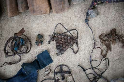 Good luck charms used by illegal hunters and ivory poachers to avoid detection or harm at Yankari Game Reserve in northeastern N