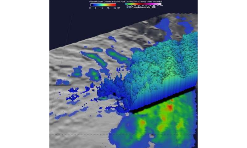 GPM flies over dissipating Tropical cyclone Corentin