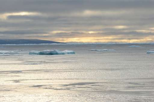 Ice chunks are seen in the Northwest Passage in the Canadian High Arctic