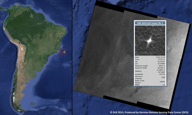 Image: Brazil coast via laser beam