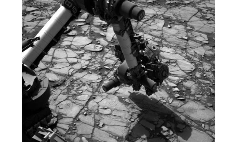Image: Curiosity's arm over 'Marimba' target on mount sharp