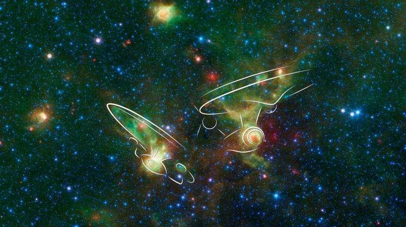 Image: 'Enterprise' nebulae seen by spitzer