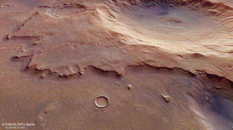 Image: Mars Express spies a nameless and ancient impact crater
