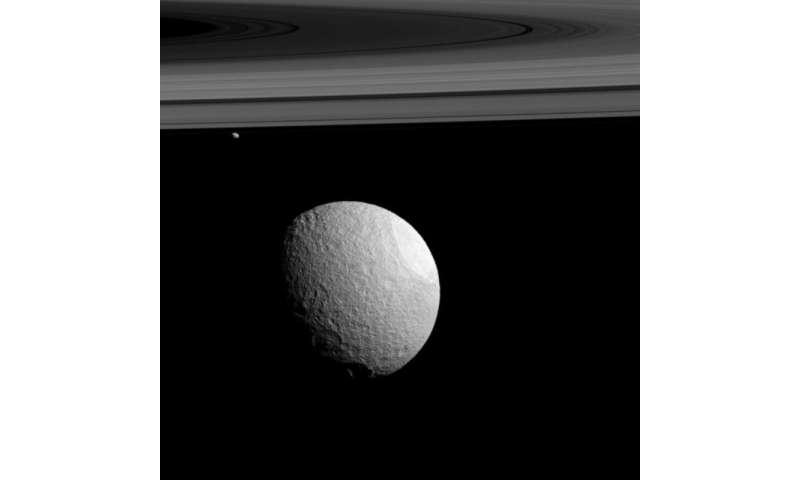 Image: Tethys and Janus captured against Saturn's rings