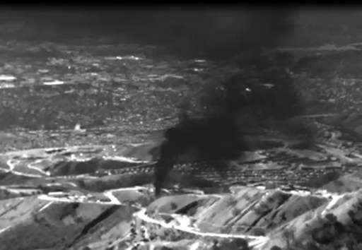 Infrared image released by the Environmental Defense Fund (EDF) shows methane gas leaking from the the Southern California Gas C
