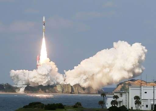 Japan's H-2A rocket, carrying a Himawari-9 weather satellite, is launched on Tanegashima Island on November 2, 2016
