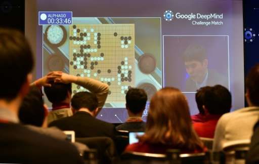 Journalists watch live footage of the third game of the Google DeepMind Challenge Match between Lee Se-Dol and the AlphaGo super