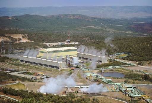 Kenya Generating Company, KenGen's Ol-Karia IV power plant is seen from a vantage point in September 2015
