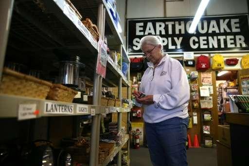Margaret Harrington shops for supplies at Earthquake Supply Center in San Rafael, California, in 2014