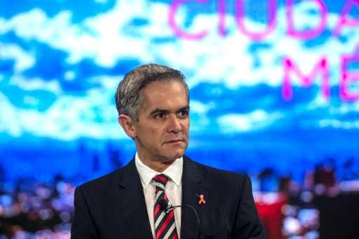 Mexico City's Mayor Miguel Angel Mancera speaks during a conference where mayors from the world's biggest cities plot their stra