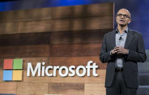 Microsoft CEO Satya Nadella, seen on December 2, 2015 in Bellevue, Washington, announces the move to help ensure the benefits of