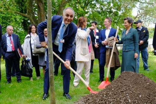 Moroccan Foreign Minister Salaheddine Mezouar (L) holds a shovel as he plants a tree next to French Environment minister Segolen