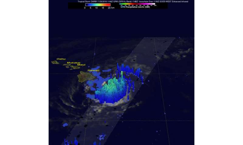 NASA calculated Tropical Storm Darby's rainfall rates over Hawaii