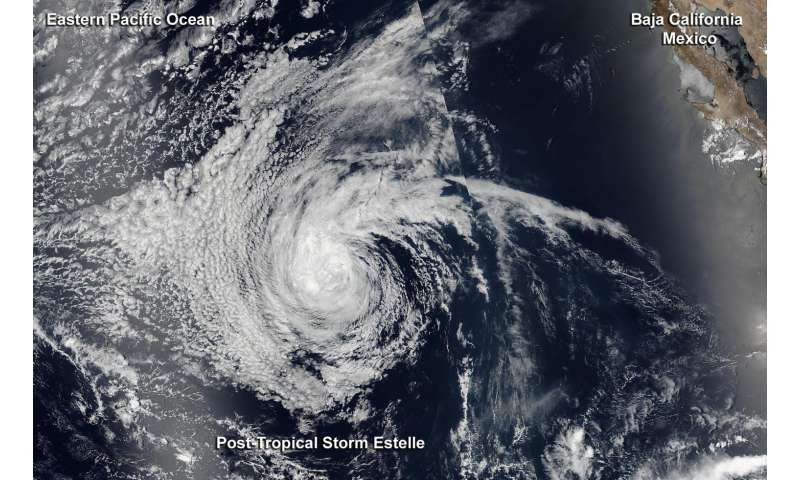 NASA catches Estelle becoming post-tropical