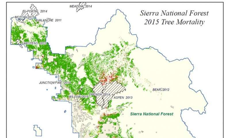 National Forests In California Map.Nasa Maps California Drought Effects On Sierra Trees
