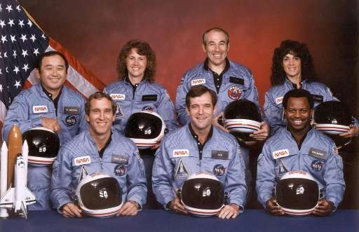 NASA picture shows the crew of the doomed US space shuttle Challenger. (Front from L) Mike Smith, Dick Scobee, Ron McNair, (Back