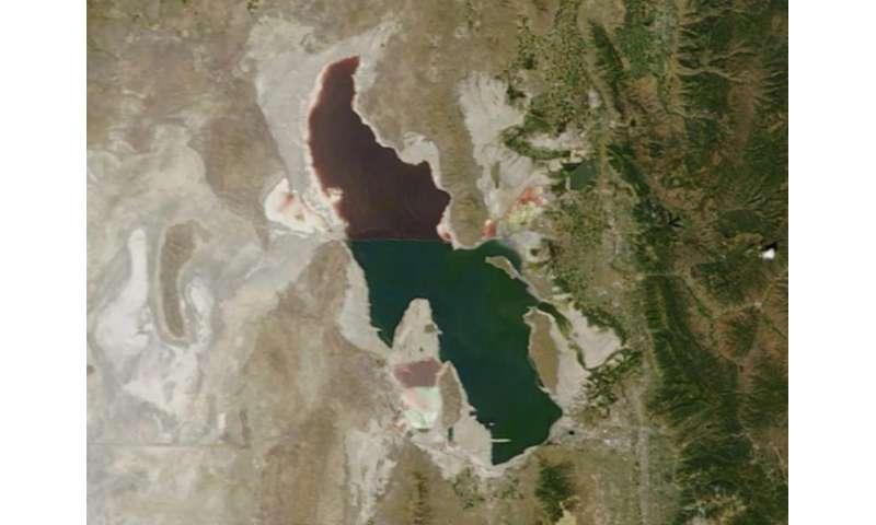 NASA Satellite Image of Utah's Great Salt Lake, 18 Aug 2014
