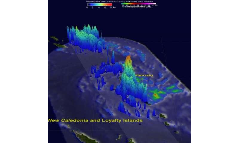 NASA's GPM views Tropical Cyclone Zena hitting Vanuatu
