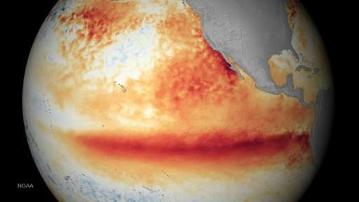 National Oceanic and Atmospheric Administration satellite images of the sea surface temperature for the month of October 2015, w