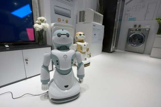 Newly unveiled Haier Ubot household robots at the 2016 Consumer Electronics Show on January 8, 2016 in Las Vegas, Nevada