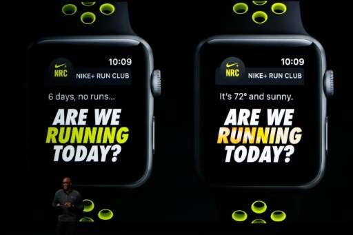 Nike President Trevor Edwards speaks on stage during an Apple launch event on September 7, 2016 in San Francisco, California