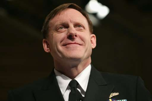 "NSA director Michael Rogers, pictured on April 2, 2015 in Washington DC, told Yahoo that ""some of the communications"""